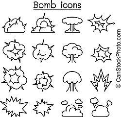 style, ensemble, bombe, &, mince, explosion, ligne, icône