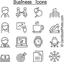 style, ensemble, business, ligne mince, icône