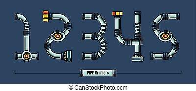 style, ensemble, canaux transmission, polices, métal, vecteur, nombres, comique, 12345