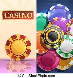 style, ensemble, chips, casino, chanceux, bannière, dessin animé