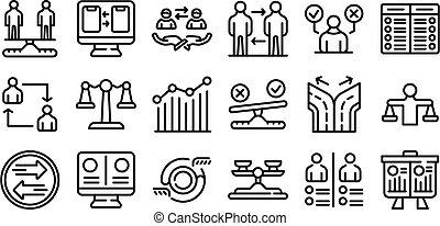 style, ensemble, contour, icônes, comparaison