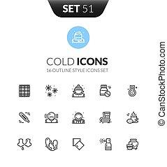 style, ensemble, contour, icônes, moderne, noir, mince, ...