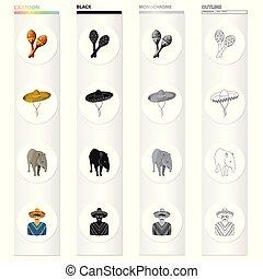 style, ensemble, contour, sombrero, mexique, pays, symbole, icônes, web., collection, mexican., vecteur, maracas, illustration, tapir, monochrome, stockage, dessin animé, noir
