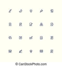 style, ensemble, contour, vecteur, copywriting, icône