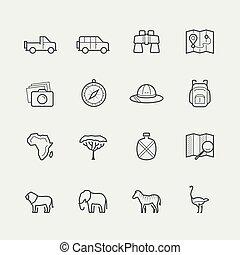 style, ensemble, contour, vecteur, safari, icône
