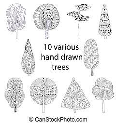 style, ensemble, croquis, griffonnage, isolé, arbres, main, dessiné