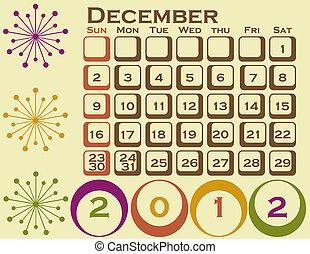 style, ensemble, décembre, 1, retro, calendrier, 2012