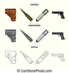 style, ensemble, dessin animé, icônes, cartouche, bombe,...