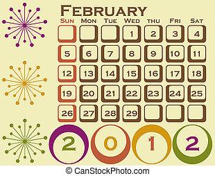 style, ensemble, février, 1, retro, calendrier, 2012