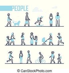 style, ensemble, gens, -, conception, caractères, ligne
