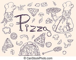 style, ensemble, griffonnage, contour, décoration, thème, conception, cuisine, italien, illustrations, pizza