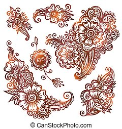 style, ensemble, hand-drawn, indien, ornements, mehndi
