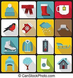 style, ensemble, hiver, icônes, plat