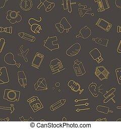style, ensemble, icônes, articles, equipment., divers, technologique, griffonnage