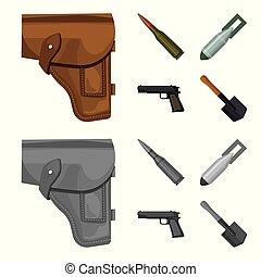style, ensemble, icônes, cartouche, bombe, symbole, armée,...