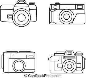 style, ensemble, icônes, photo, vecteur, ligne, appareil photo