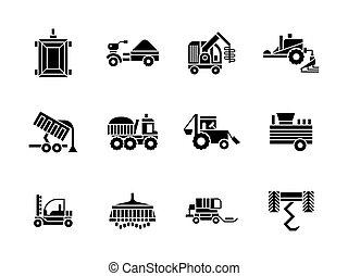 style, ensemble, icônes, véhicules, vecteur, agriculture, glyph