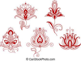 style, ensemble, indien, résumé, persan, motifs, fleurs