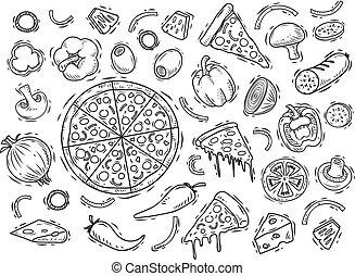 style, ensemble, ingrédients, griffonnage, isolé, fond, blanc, pizza