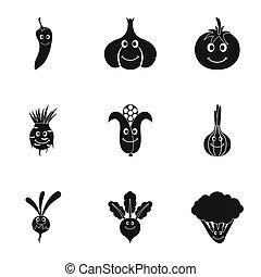 style, ensemble, légumes, figure, simple, icône