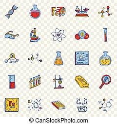 style, ensemble, laboratoire, main, dessiné, chimie, icône