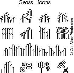 style, ensemble, ligne mince, herbe, icône