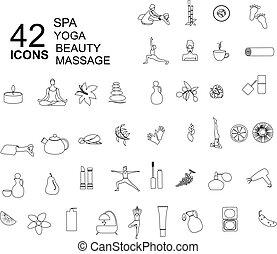 style, ensemble, linéaire, beauté, icônes, spa