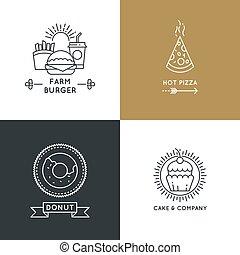 style, ensemble, linéaire, restaurant, nourriture, jeûne, vecteur, logo, café