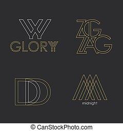style, ensemble, logos., linéaire, résumé, vecteur, 4, lettres