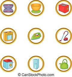 style, ensemble, ménage, électronique, dessin animé, icône
