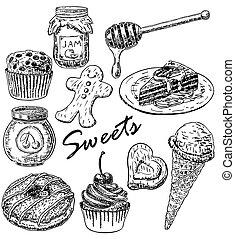 style, ensemble, main, bonbons, vecteur, encre, dessiné