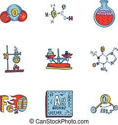 style, ensemble, main, dessiné, chimie, icône