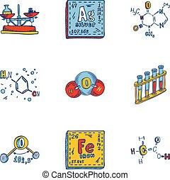 style, ensemble, main, formule, dessiné, chimie, icône