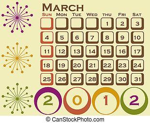 style, ensemble, mars, 1, retro, calendrier, 2012