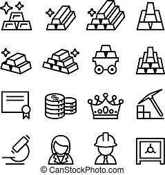 style, ensemble, or, ligne mince, icône