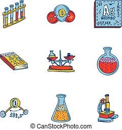 style, ensemble, outillage, main, dessiné, chimie, icône