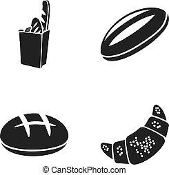 style, ensemble, pain, croissant, icônes, symbole, web., illustration, seigle, vecteur, noir, paquet, collection, loaf., pain, stockage, rond, blé
