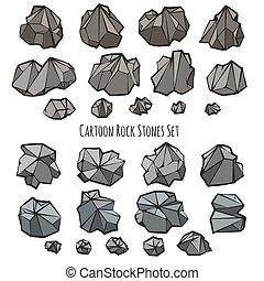 style, ensemble, pierre, dessin animé, rocher