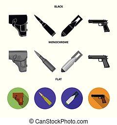 style, ensemble, plat, icônes, cartouche, bombe, symbole,...