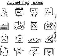 style, ensemble, publicité, ligne, icône, mince