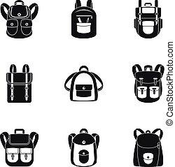style, ensemble, sac à dos, camp, simple, icône