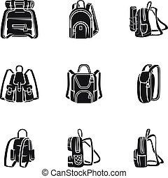 style, ensemble, sac à dos, simple, aventure, icône
