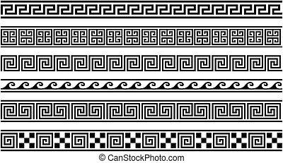 style, ensemble, seamless, grec, vecteur, 6, cadres, géométrique