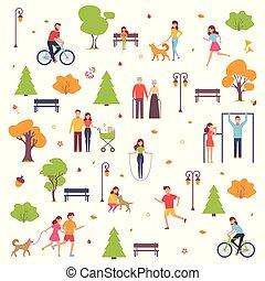 style, ensemble, season., caractères, simple, gens., parc, isolé, illustration, promenade, automne, vecteur, fond, blanc