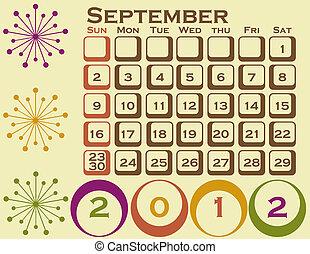 style, ensemble, septembre, 1, retro, calendrier, 2012