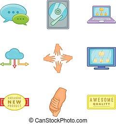 style, ensemble, soutien, client, dessin animé, icône
