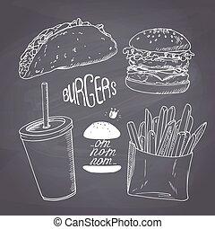 style, ensemble, tasse, nourriture, sketched, jeûne, craie, frire, papier, tableau, fond, taco, hamburger, lait, shake., francais