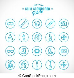style, ensemble, vacances, recours, vecteur, ligne, ski, icône