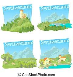 style, ensemble, voyage, concepts, suisse, dessin animé