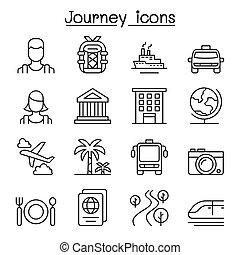 style, ensemble, &, voyage, ligne mince, tourisme, icône